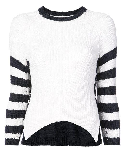 Spencer Vladimir - White Contrast Striped Sweater - Lyst