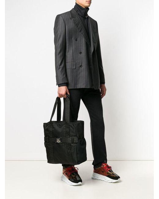 3a0e61aa2 ... Versace - Black Greca Ribbon Tote Bag for Men - Lyst ...