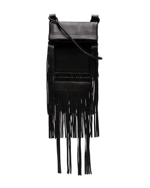 Saint Laurent - Black Tanger Fringed Leather Cross Body Bag - Lyst