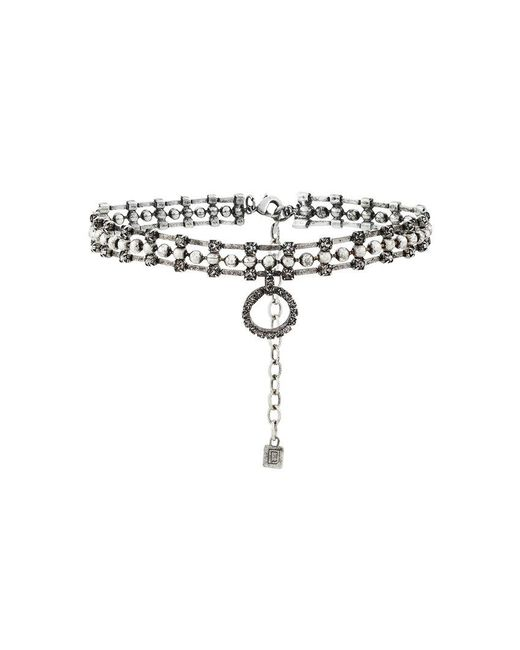 DANNIJO - Metallic Vixie Choker With Crystal Circle Pendant - Lyst