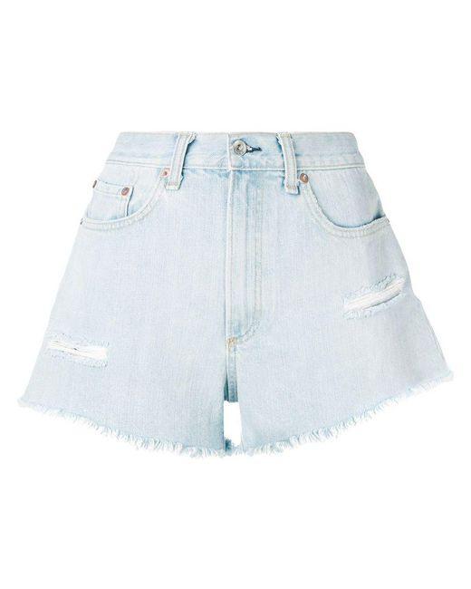 2ad2ce2c10f Lyst - Rag   Bone Distressed Denim Shorts in Blue