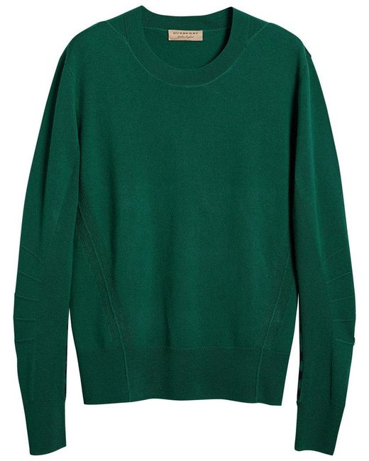 Burberry - Green Check Detail Jumper for Men - Lyst