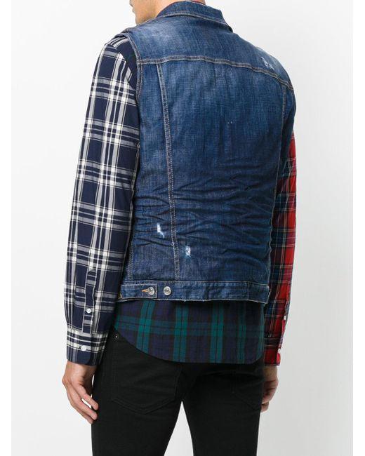 f4308c74972871 ... DSquared² - Blue Distressed Sleeveless Denim Jacket for Men - Lyst