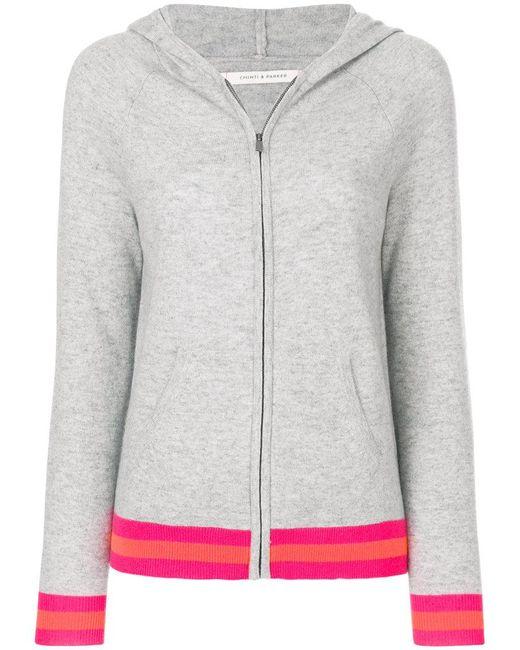 Chinti & Parker - Gray Stripe Trim Zipped Hoodie - Lyst