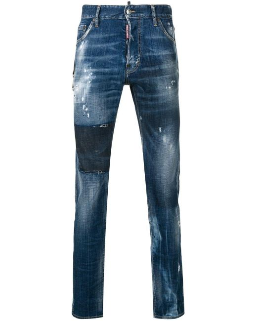 DSquared² Blue Distressed Skinny Jeans for men