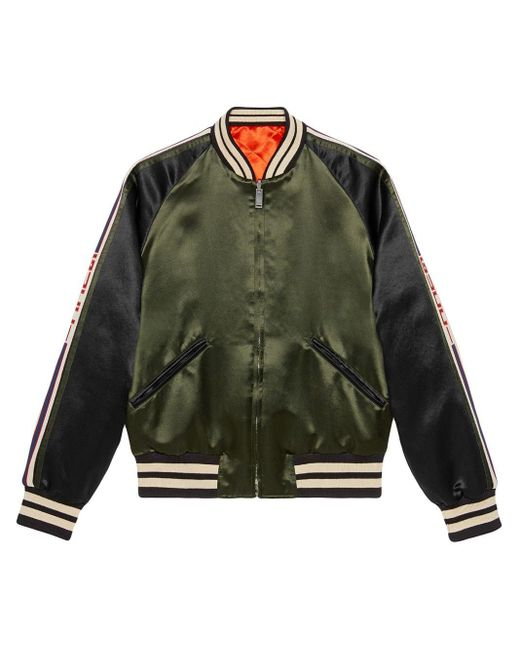 Gucci - Green Reversible Bomber Jacket With Printed Sleeves for Men - Lyst