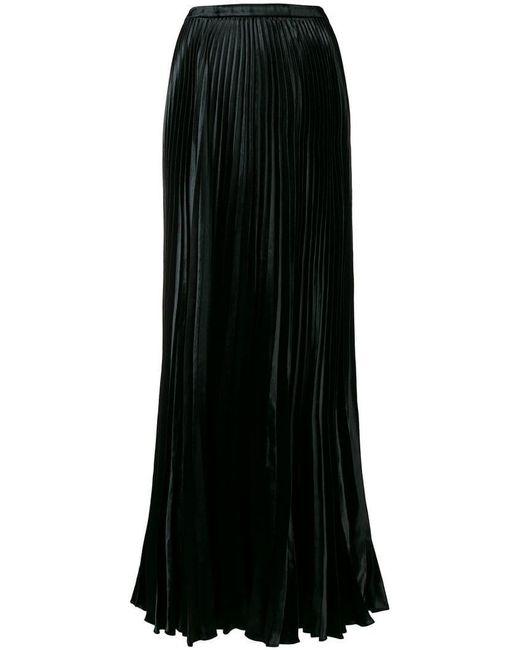 b9619c36c0f Saint Laurent - Black Pleated Long Skirt - Lyst ...