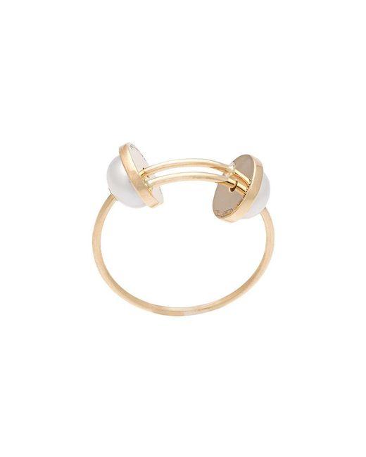 Delfina Delettrez - Metallic Double Pearl Ring - Lyst