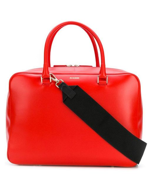 Jil Sander - Red All-around Zipped Tote - Lyst