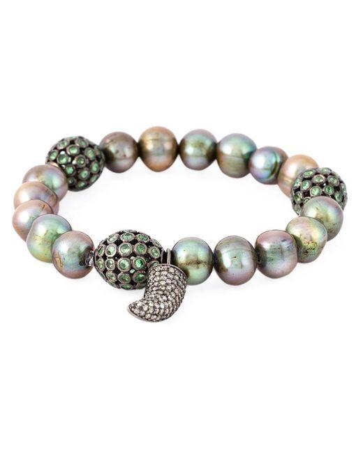 Loree Rodkin - Metallic 18kt White Gold Diamond Horn Pearl Bracelet - Lyst