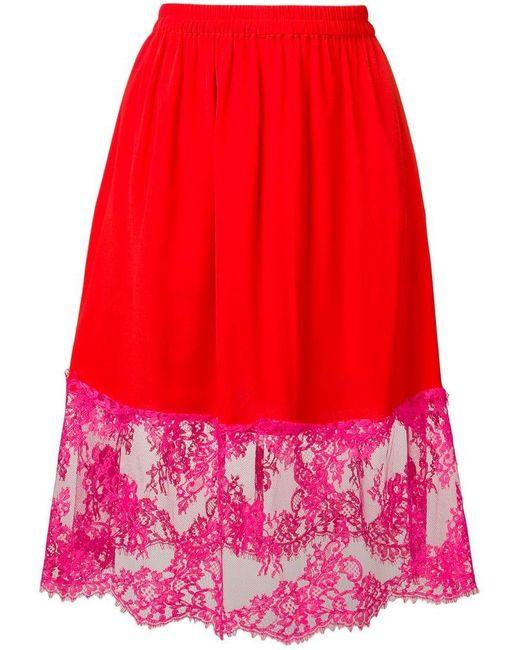 15258874d Falda de crepé con encaje de mujer de color rojo