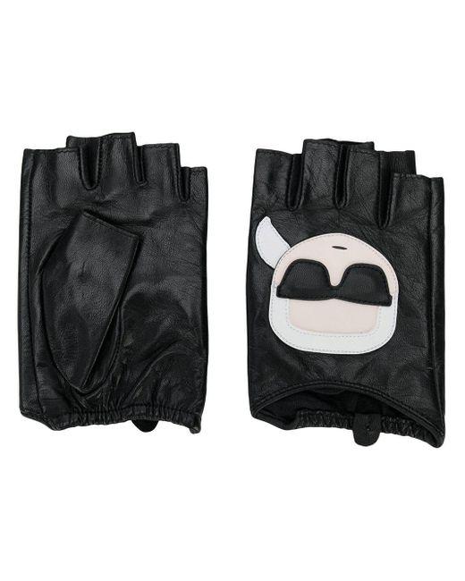 Karl Lagerfeld - Black Ikonic Fingerless Gloves - Lyst