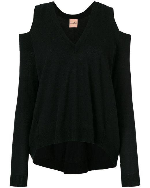 Nude - Black Cold Shoulder Sweater - Lyst