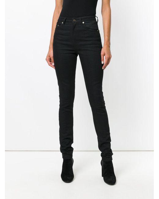 media Saint Lyst de ajustados cintura Laurent Jeans negros nUO17