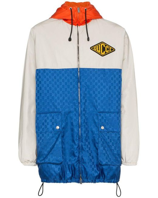 164db39c7d6 Lyst - Gucci gg Jacquard Logo Hooded Jacket in Blue for Men - Save 41%