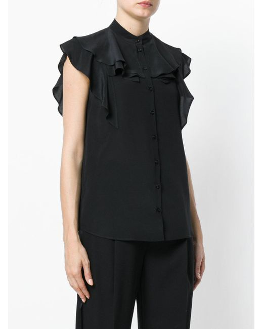 0cf2929f ... Givenchy - Black Frill-trim Blouse - Lyst ...