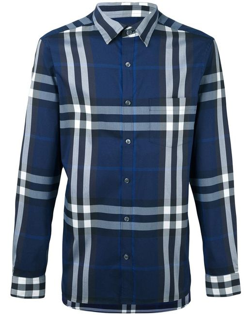 Burberry   Blue Checked Shirt for Men   Lyst