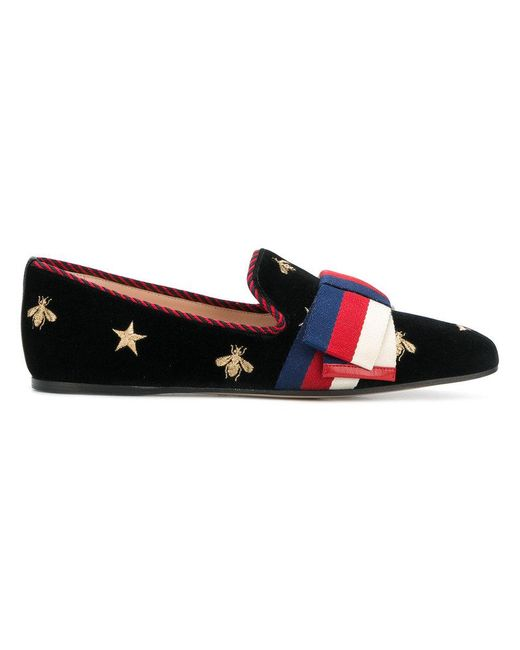 Gucci - Black Gold Embroidered Loafers - Lyst