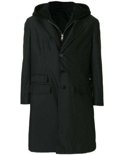 Neil Barrett - Black Layered Hooded Coat for Men - Lyst