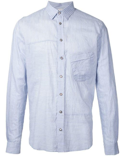 Forme D'expression - Blue Striped Panelled Shirt for Men - Lyst