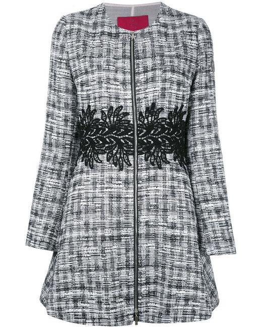 Moncler Gamme Rouge | Black Zipped Tweed Coat | Lyst