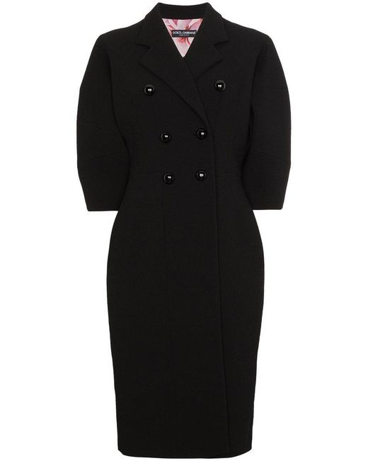 Dolce & Gabbana | Black Double Breasted Bell Sleeve Coat | Lyst