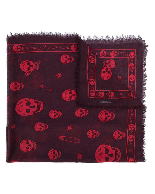 Alexander McQueen | Red Skull And Paper Clip Scarf for Men | Lyst