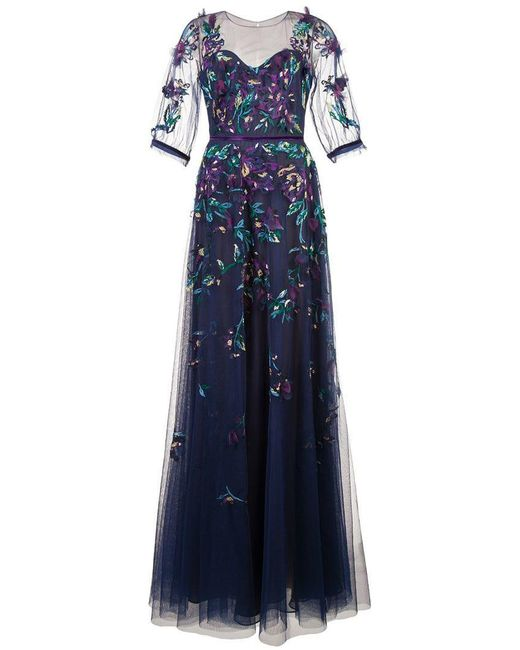 32161398393c Marchesa notte - Blue Embroidered Tulle Ball Gown - Lyst ...