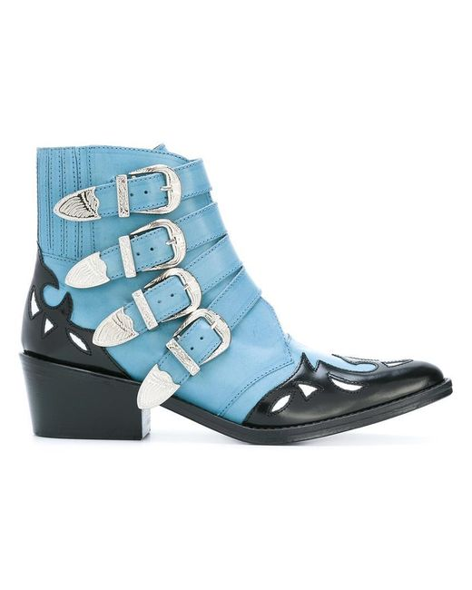 Toga Pulla | Blue Ankle Height Buckle Boots | Lyst
