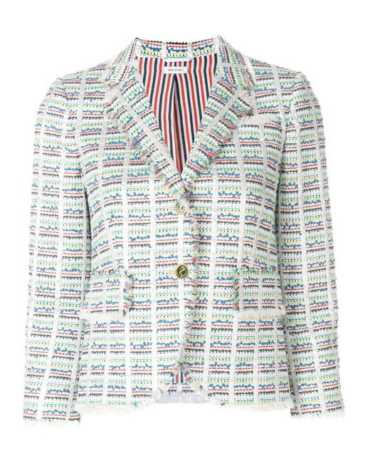 Thom Browne | Multicolor Checkered Tweed Jacket | Lyst