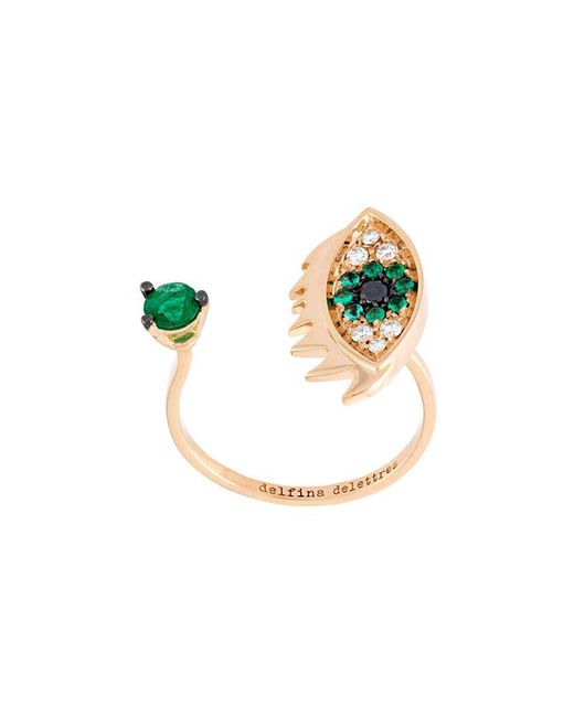 Delfina Delettrez - Metallic 'eyes On Me Piercing' Diamond And Emerald Ring - Lyst