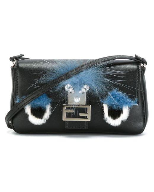 Fendi - Blue Micro Monster Leather Baguette Bag - Black - Lyst