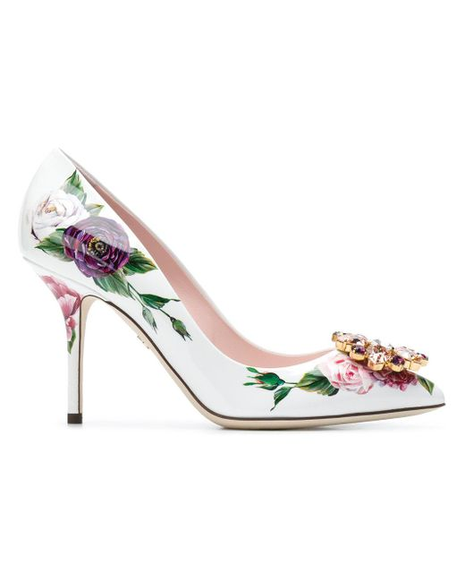 Dolce & Gabbana White Bellucci Peony Print Pumps