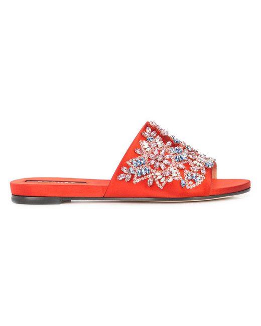 Rochas - Red Jewel Embellished Slides - Lyst