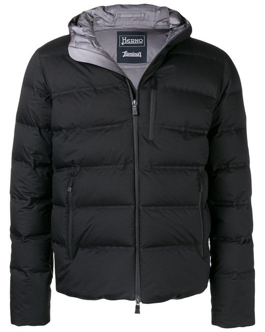 Herno - Black Cropped Padded Coat for Men - Lyst