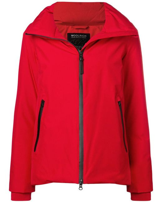 Woolrich - Red Zipped Padded Jacket - Lyst