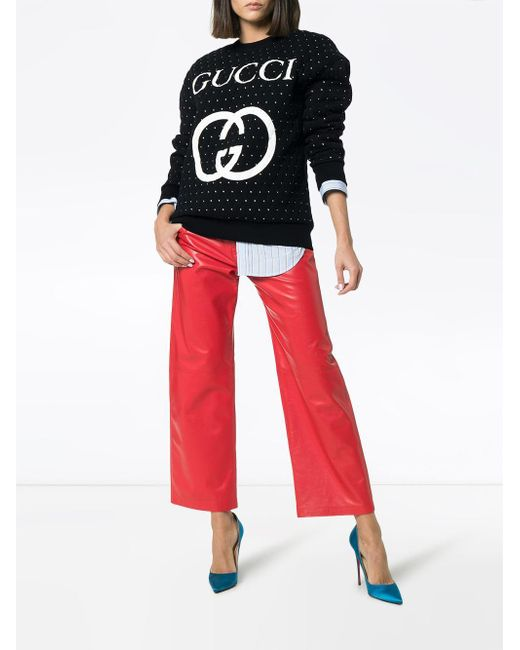 cd92b7f2bf2 ... Gucci - Black Embellished Quilted Cotton Logo Sweatshirt - Lyst ...