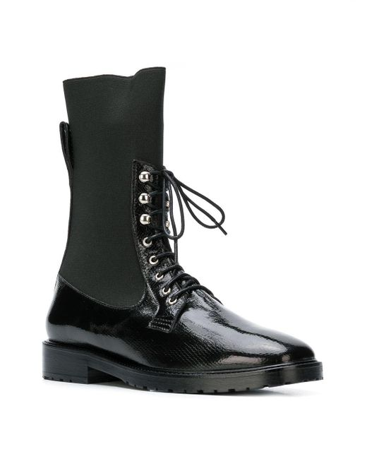 Boots Leandra Calf wgafq1C In Up Lyst Mid Lace Black Medine in xPHII1