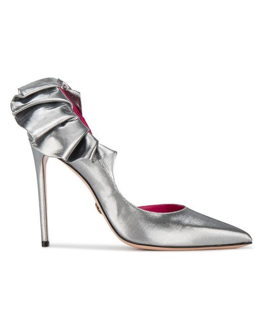 Oscar Tiye - Metallic Silver Adele 110 Ruffle-trimmed Pumps - Lyst