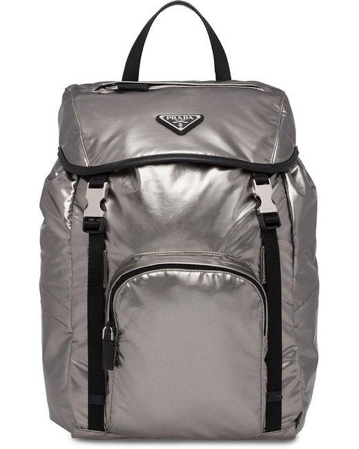 c6dc95fcfeac Lyst - Prada Laminated Logo Backpack in Black - Save 9.7841726618705%