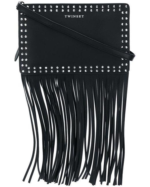 Twin Set - Black Fringed Studded Shoulder Bag - Lyst