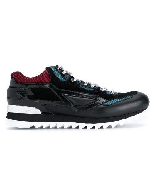 Les Hommes   Black Stitched Panel Sneakers for Men   Lyst