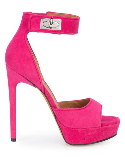 b10ef3e3678c Givenchy - Pink Shark Lock Sandals - Lyst ...