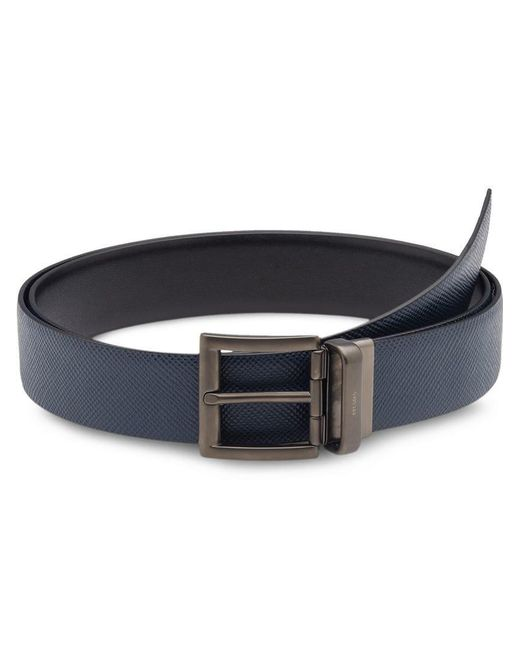 Prada - Blue Saffiano Cuir Leather Reversible Belt for Men - Lyst
