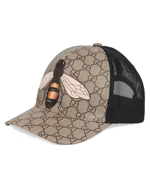 d1b28b85 Gucci - Multicolor Bee Print GG Supreme Baseball Hat for Men - Lyst ...