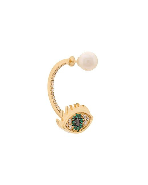 Delfina Delettrez - Metallic 'eyes On Me Piercing' Emerald And Diamond Earring - Lyst