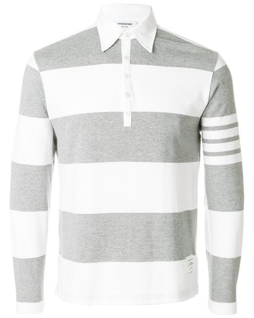 Thom Browne - Gray Langärmeliges Poloshirt for Men - Lyst