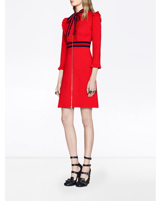 163d015a71f Gucci Crêpe-jersey Dress in Red - Save 31% - Lyst