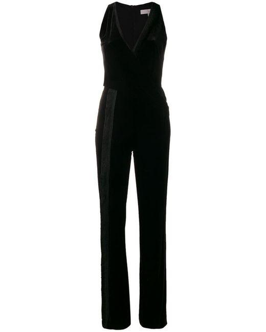 Galvan - Black Velvet Wrap Jumpsuit - Lyst