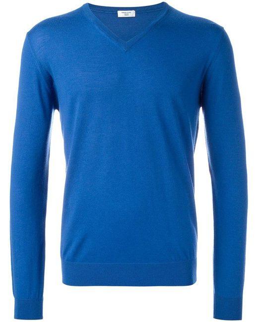 Fashion Clinic Timeless   Blue V-neck Jumper for Men   Lyst